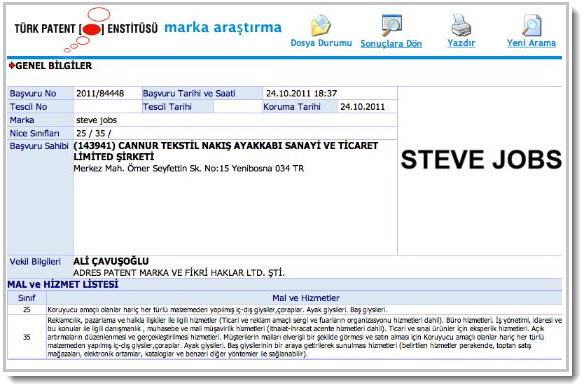2. TM in Turkey for Steve Jobs
