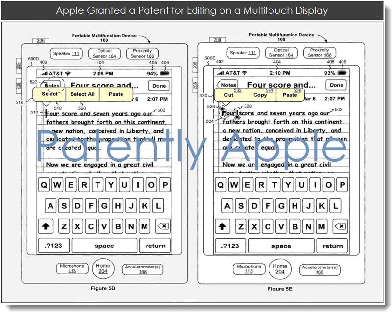3. Apple granted a patent for editiing on a multitouch display