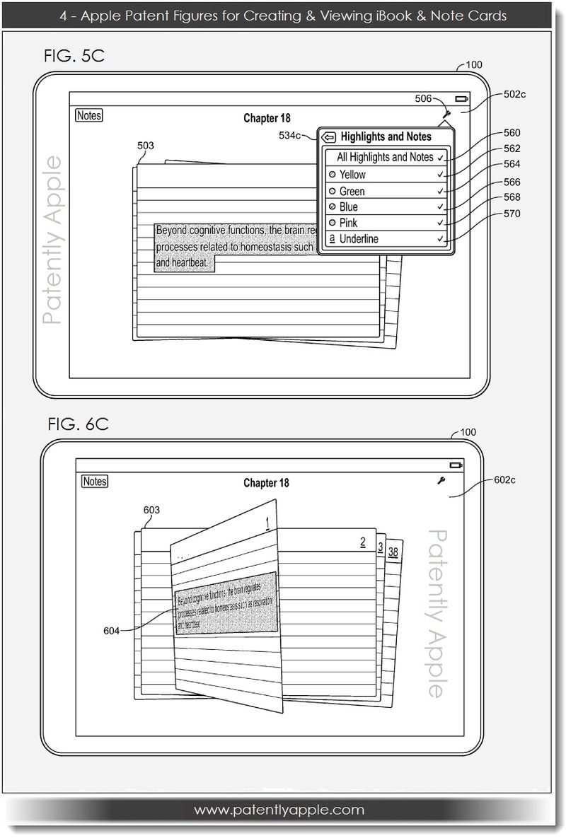 5. Apple, Patent FIGS for Creating, Viewing iBook & Note Cards