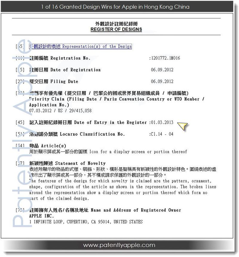 2. 1 of 16 Granted Design Patent Wins for Apple, Hong Kong China 01. 03. 2013