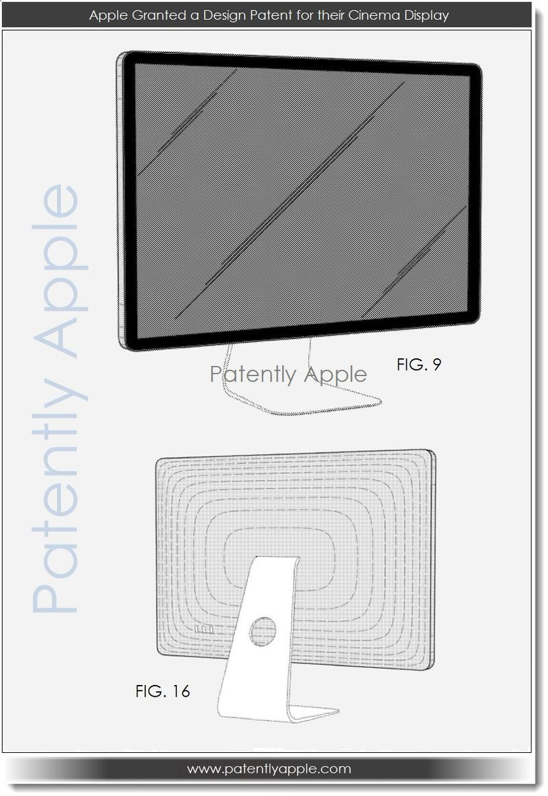 3. Apple Granted a Design Patent for their 2011 Cinema Display
