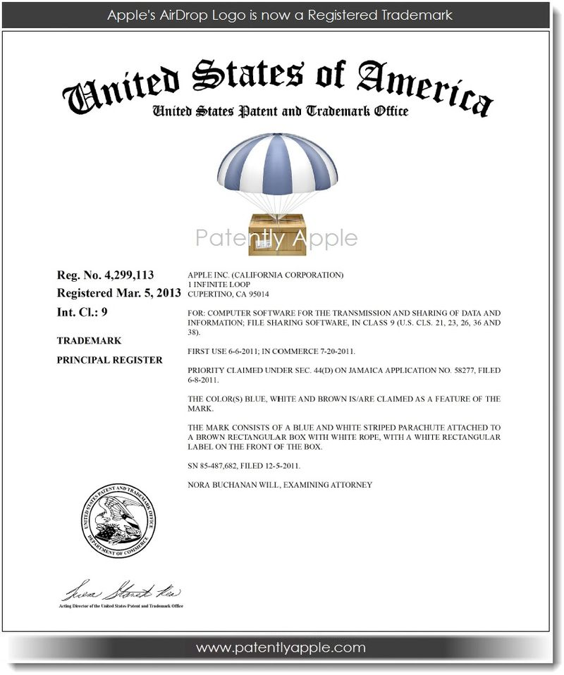 2. Apple's AirDrop is now a Registered TM 03.07.13
