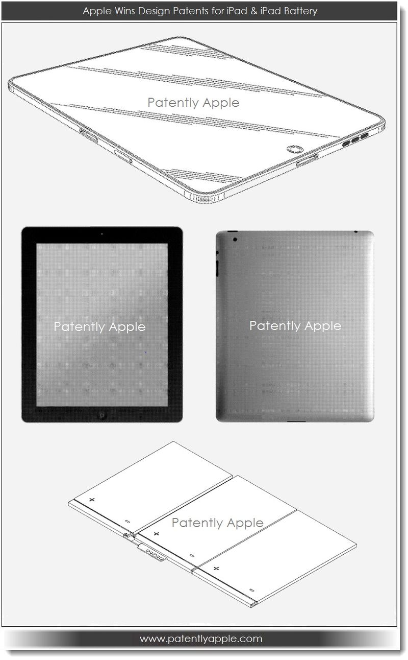 3. Apple wins design patents for iPad and iPad battery