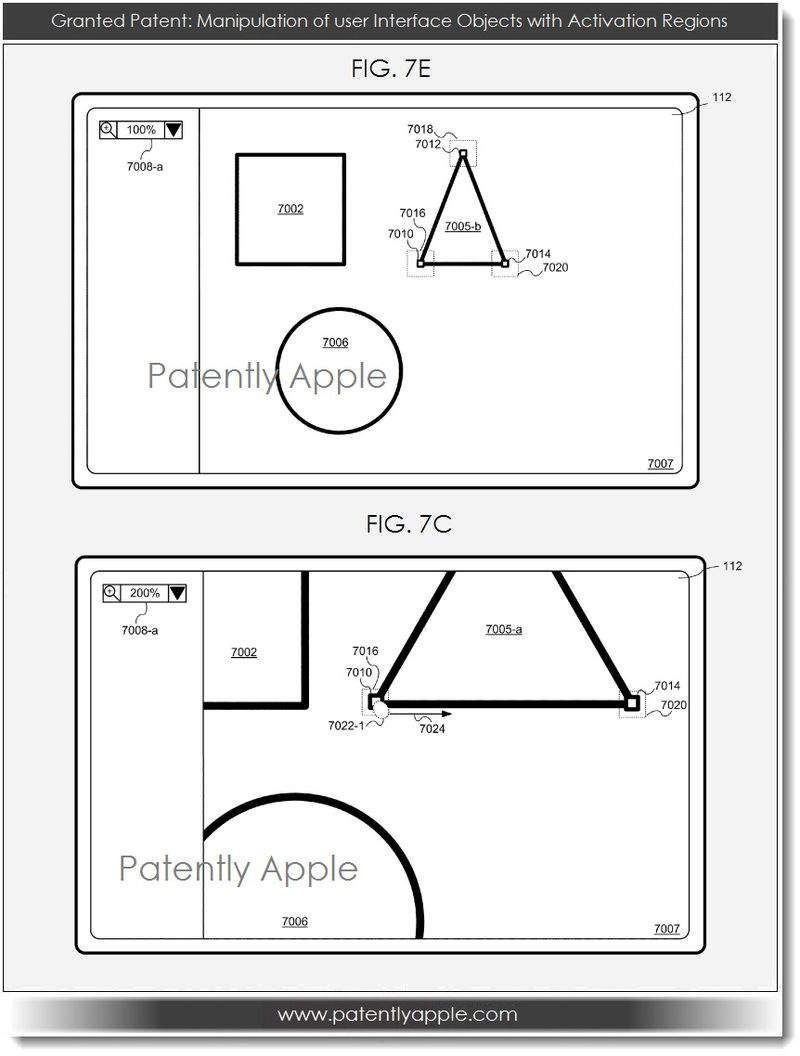 3. Apple patent  maniulation of UI Objects with Activation Regions