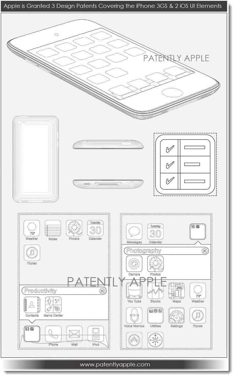 3. Apple wins 3 design patents