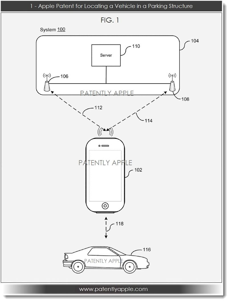 2. Apple Patent Filing for Locating a Vehicle in a  Parking Structure