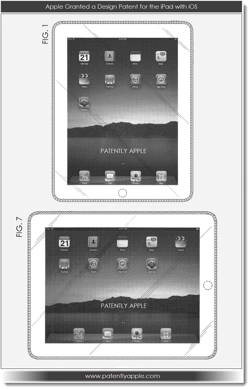 4. Apple granted a design patent for iPad with iOS 05.07. 13