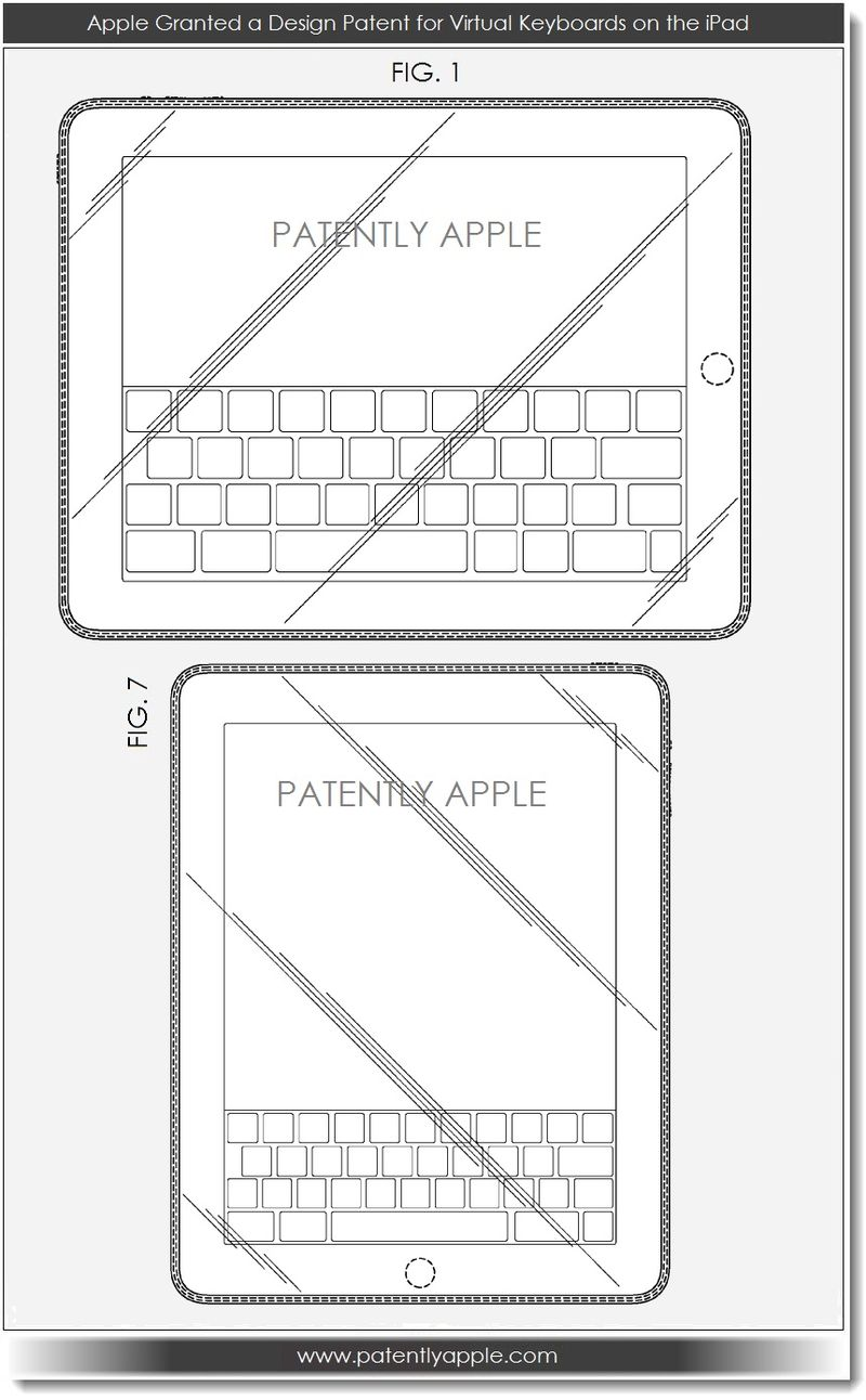 5. Apple Granted a Design Patent for a virtual Keyboard on the iPad