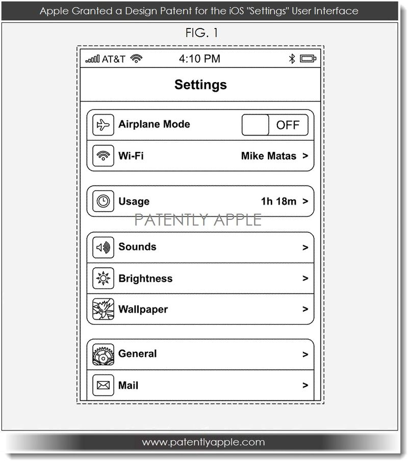 6. Apple granted a design patent for iOS Settings UI