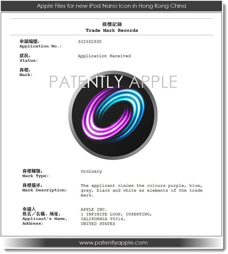 6. Apple files for iPod nano icon in China