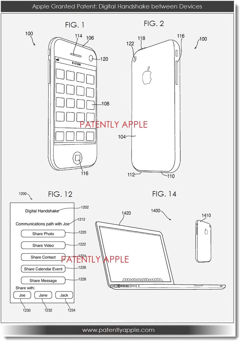 2. Apple Granted Patent - Digital handshake between Devices figs 1,2, 12, 14