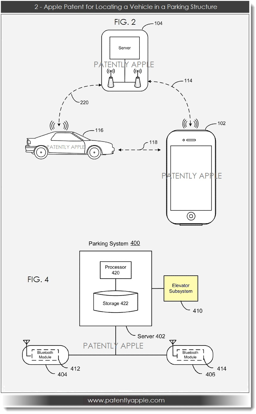 apple patent filing for locating a vehicle in a parking structure