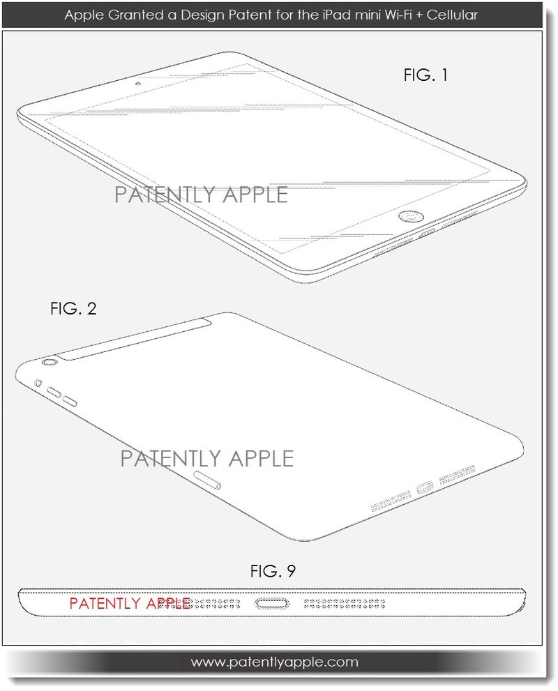 3. Apple granted design patent for iPad mini Wi-Fi + Cellular