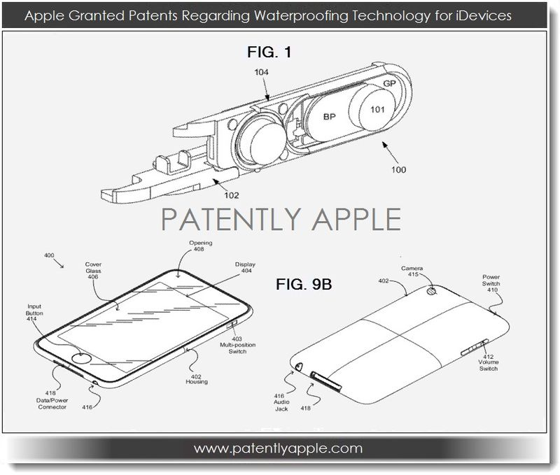 2A. Apple Granted Patents Regarding waterproofing for iDevices
