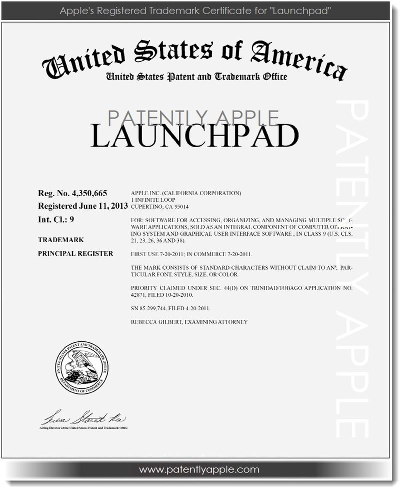 2. USPTO issues RTM Certificate to Apple for Launchpad