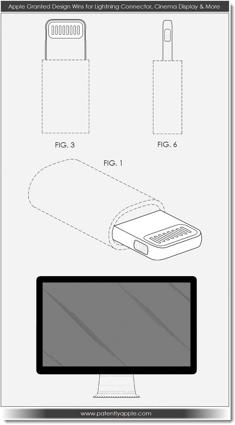5. Apple Granted Design Wins for Lightning Connector, Cinema Display & More