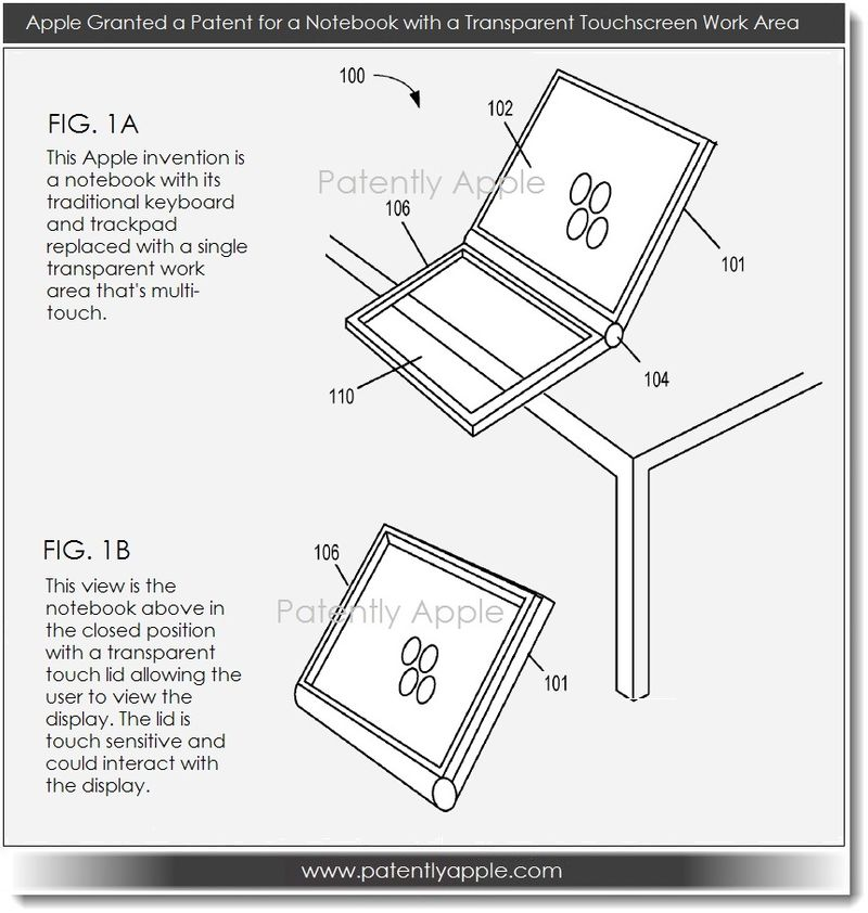 2. Apple granted patent - notebook with transparent work area & 3D trackpad