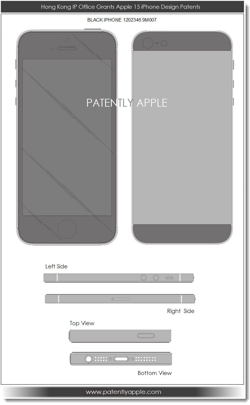 3. Hong Kong IP Offce grants Apple 15 iPhone Design patents July 2013