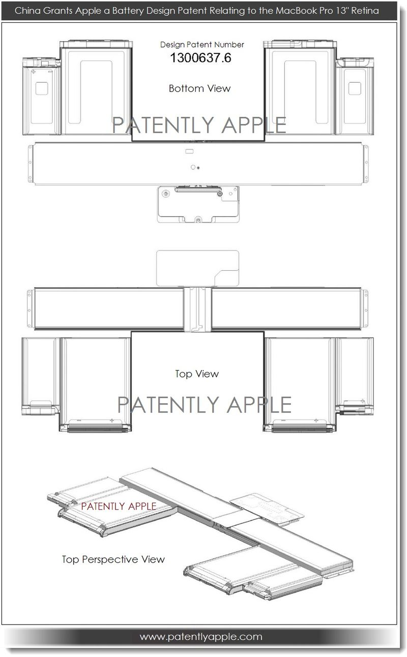 7. Apple is granted a battery design patent relating to MacBook Pro 13 inch Retina 2013