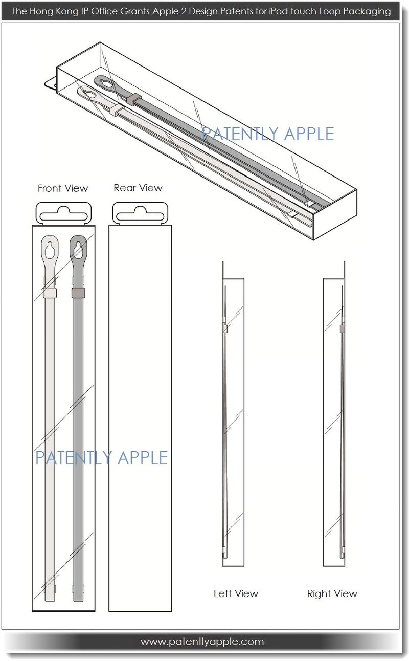 2. Apple wins 2 retail pkg design patents relating to the ipod touch loop