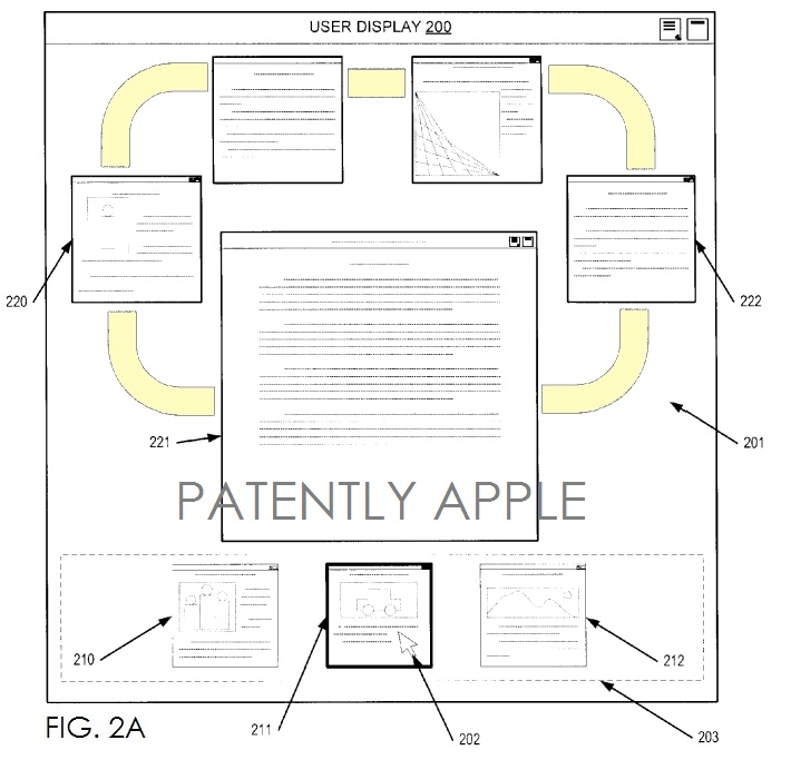 2. Apple patent fig 2a Carousel UI for browsing content in tabs