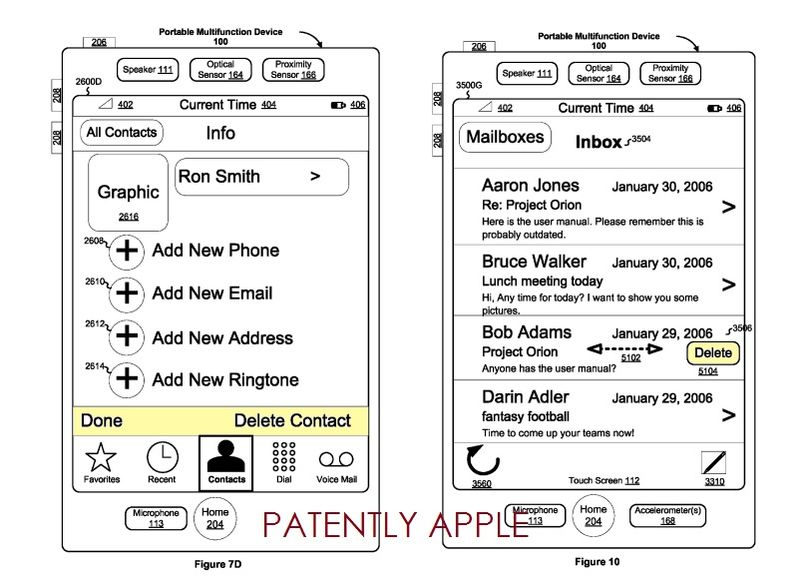 2. Apple granted a patent for Deletion gestures on a portable multifunction device