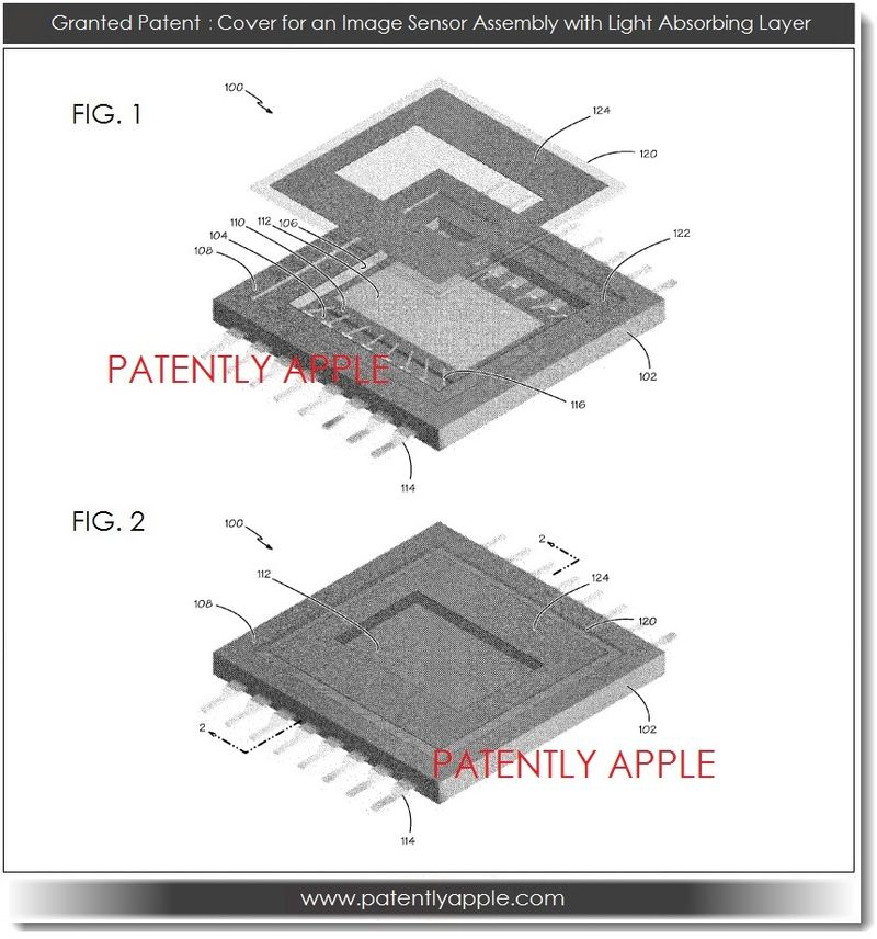 4. Apple patent filing - cover for an image sensor assembly with light absorbing layer