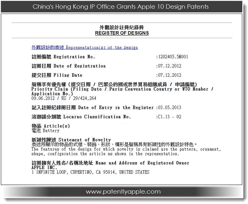 3. one of the Hong Kong IP Office forms related to Apple's 10 design wins