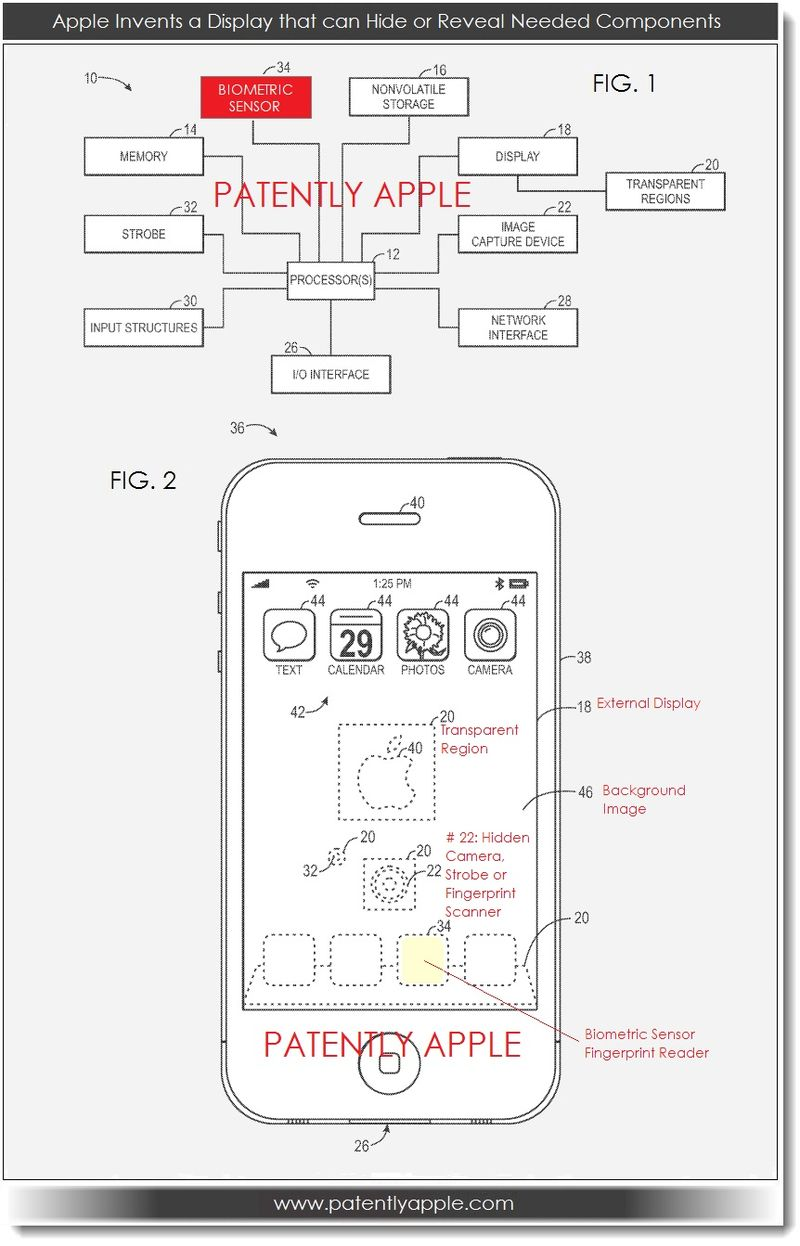3. OVERVIEW of Apple patent for hiding revealing components behind a display