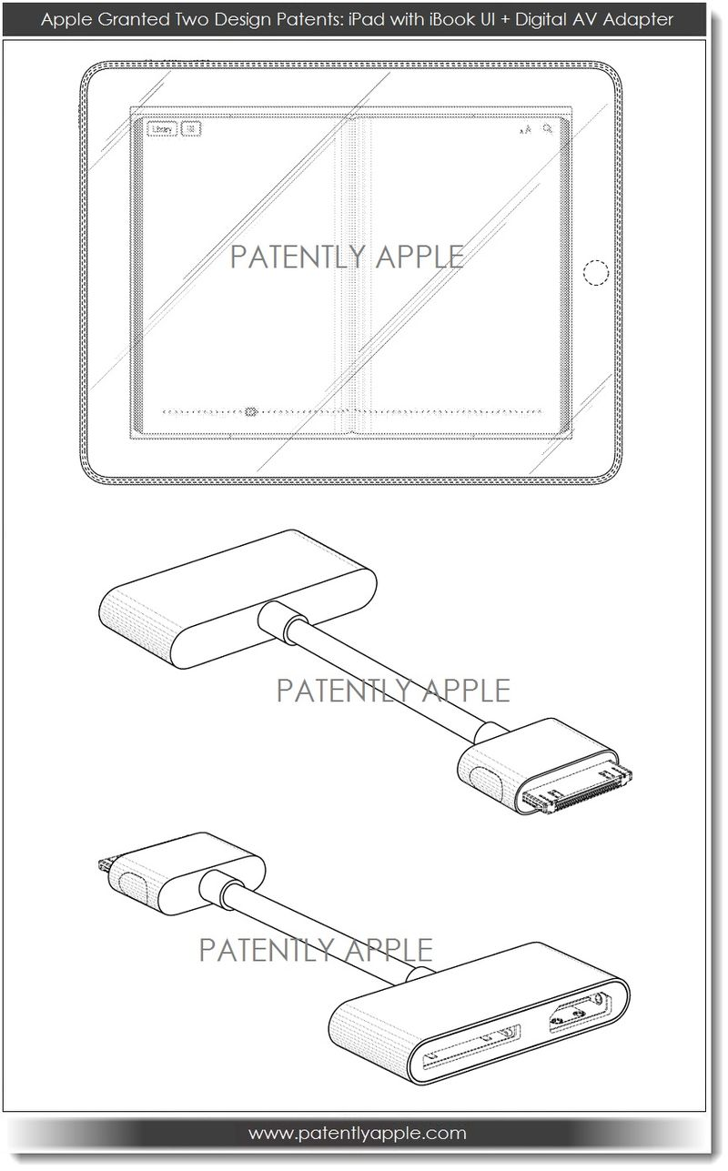6. Apple granted design patents for iPad with iBook UI + Digital AV Adapter June 2013