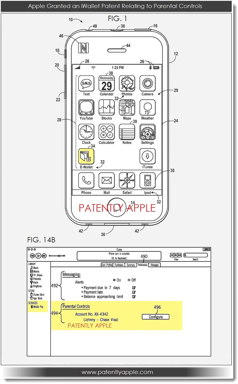 2. iWallet patent with Parental Controls  JUNE 2013
