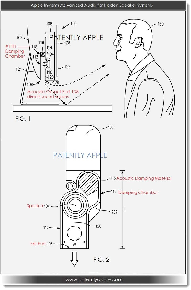 2. Apple patent filing for an advanced audio system for hidden speaker