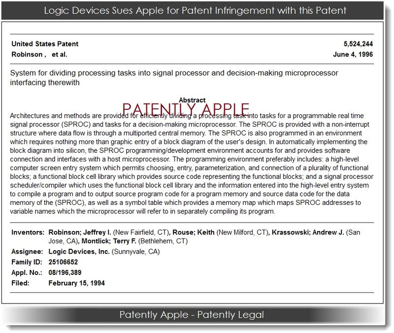2. Logic Devices, Inc, patent 5,524,244 in Infringement case against Apple