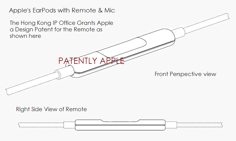 6A. Hong Kong IP Office grants Apple a design patent for the remote part of the EarPods