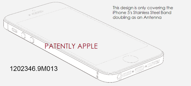 5. One example of a new iPhone 5 design patent in Hong Kong covering only the steel band around the iPhone