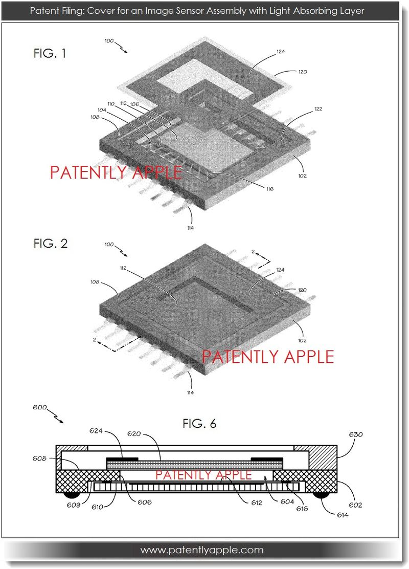2. Apple patent filing - cover for an image sensor assembly with light absorbing layer