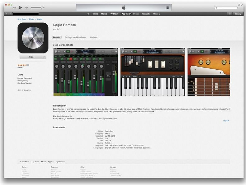 4. Apple Specimen for Logic Remote