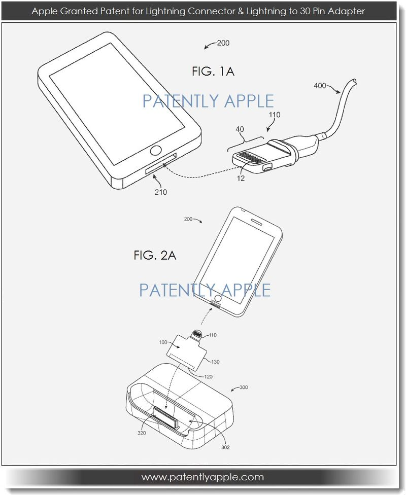 2. Apple Granted Patent for Lightning Connector & Lightning to 30 pin adapter