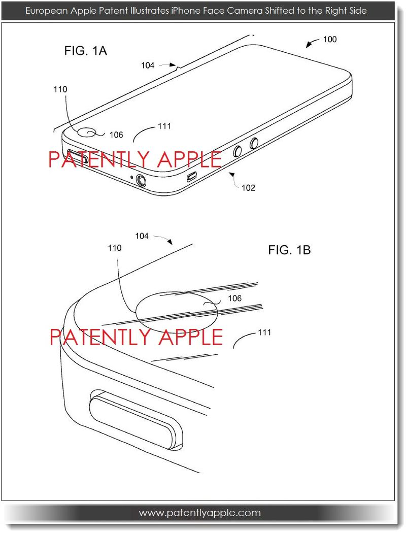 7. EU Apple Patent shows iPhone Face Camera Shifted to the Right Side
