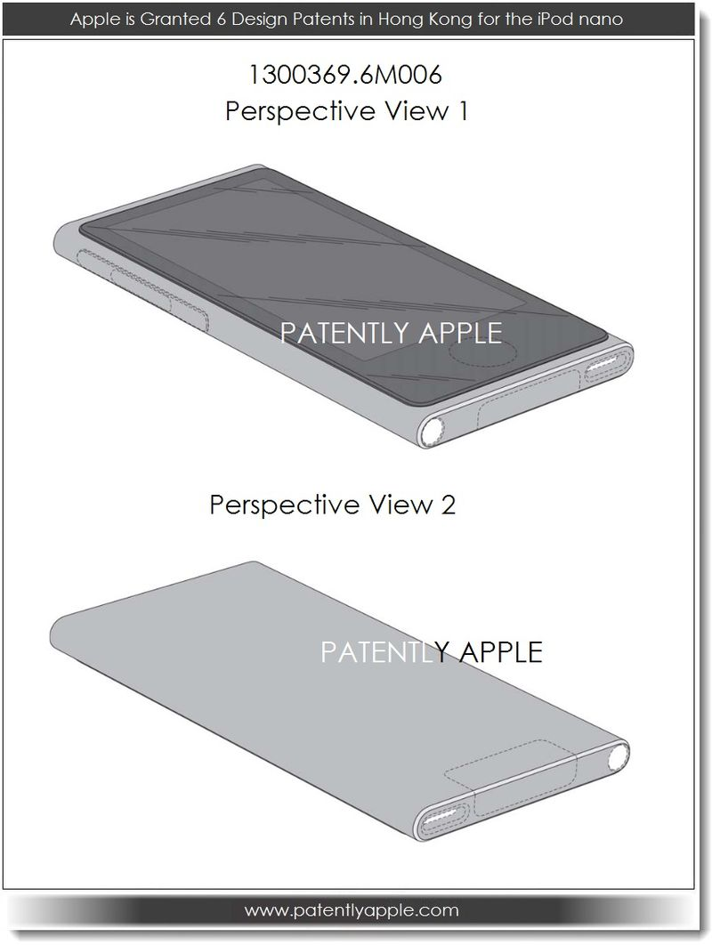 9. Apple granted 6 design patents for the iPod nano in Hiong Kong