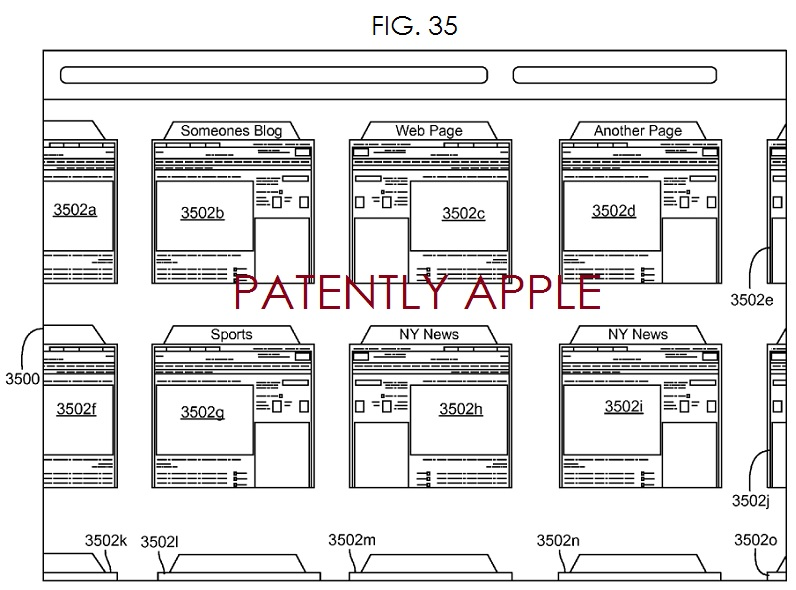4. Apple invention - FIG. 35 illustrates a browser screen in array mode with pages arranged in a grid