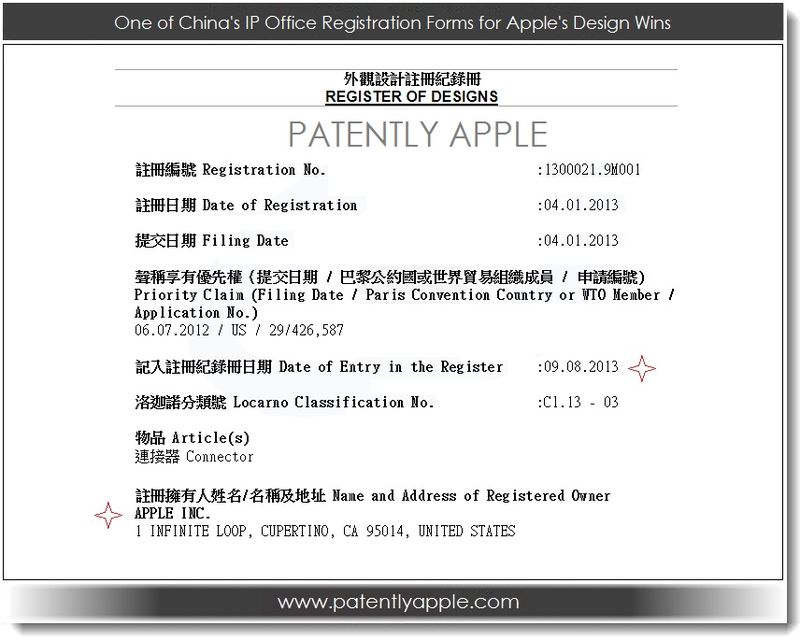 2A - 1 of 12 China registratin forms for Apple's design wins for Lightning