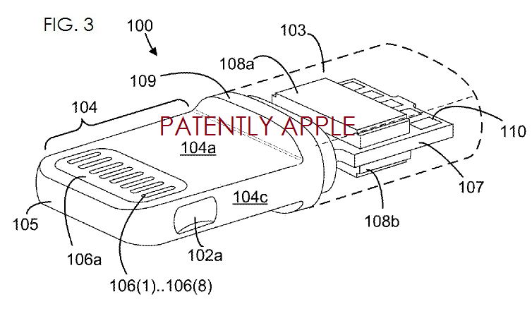 3. Apple patent fig, 3 re Lightning adapter