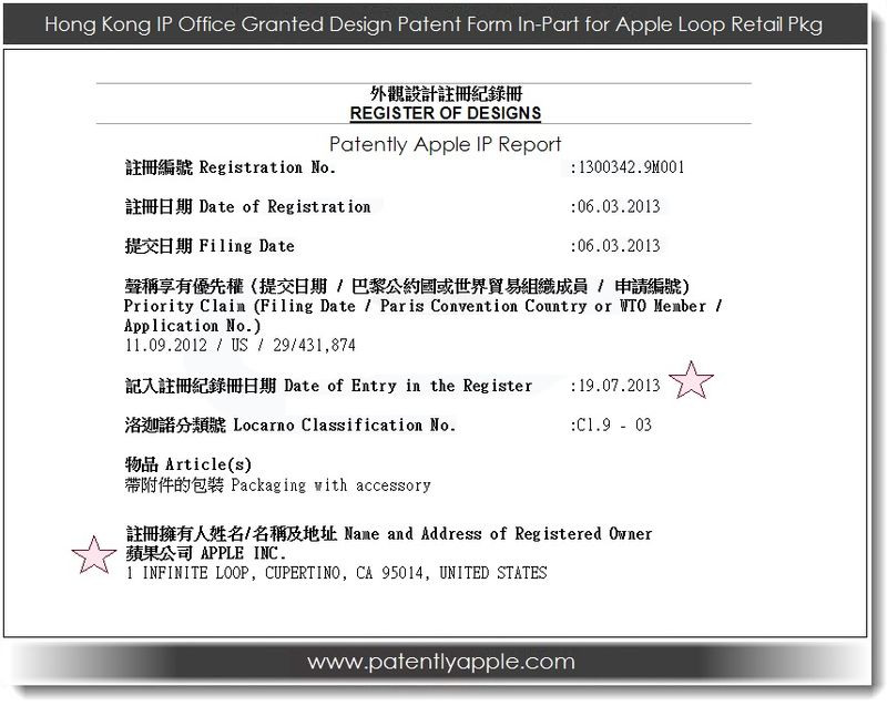 4. Hong Kong IP Office Register of Designs Form In-Part for Apple, Loop retail pkg