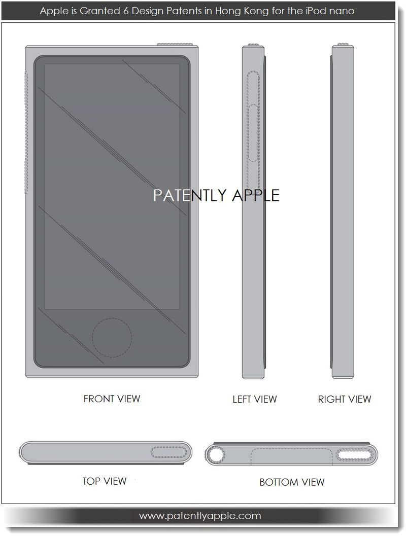 10. Apple granted 6 design patents in Hong Kong for iPod nano - Front, sides, top and bottom perspectives