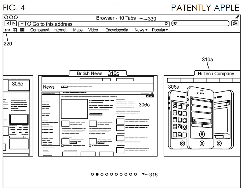 2. Apple invention, Fig 4 - Tabbed Browsing in Array Mode - scrolling