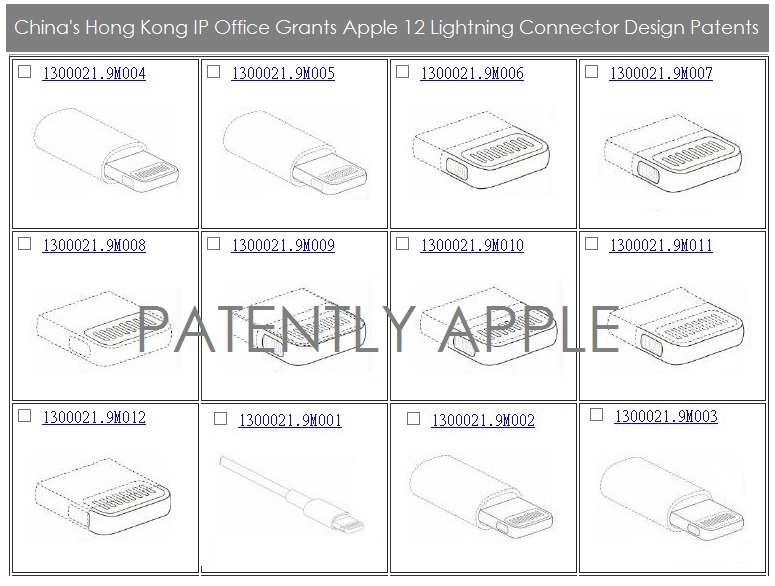 Apple Granted 12 Lightning Connector Design Patents in China