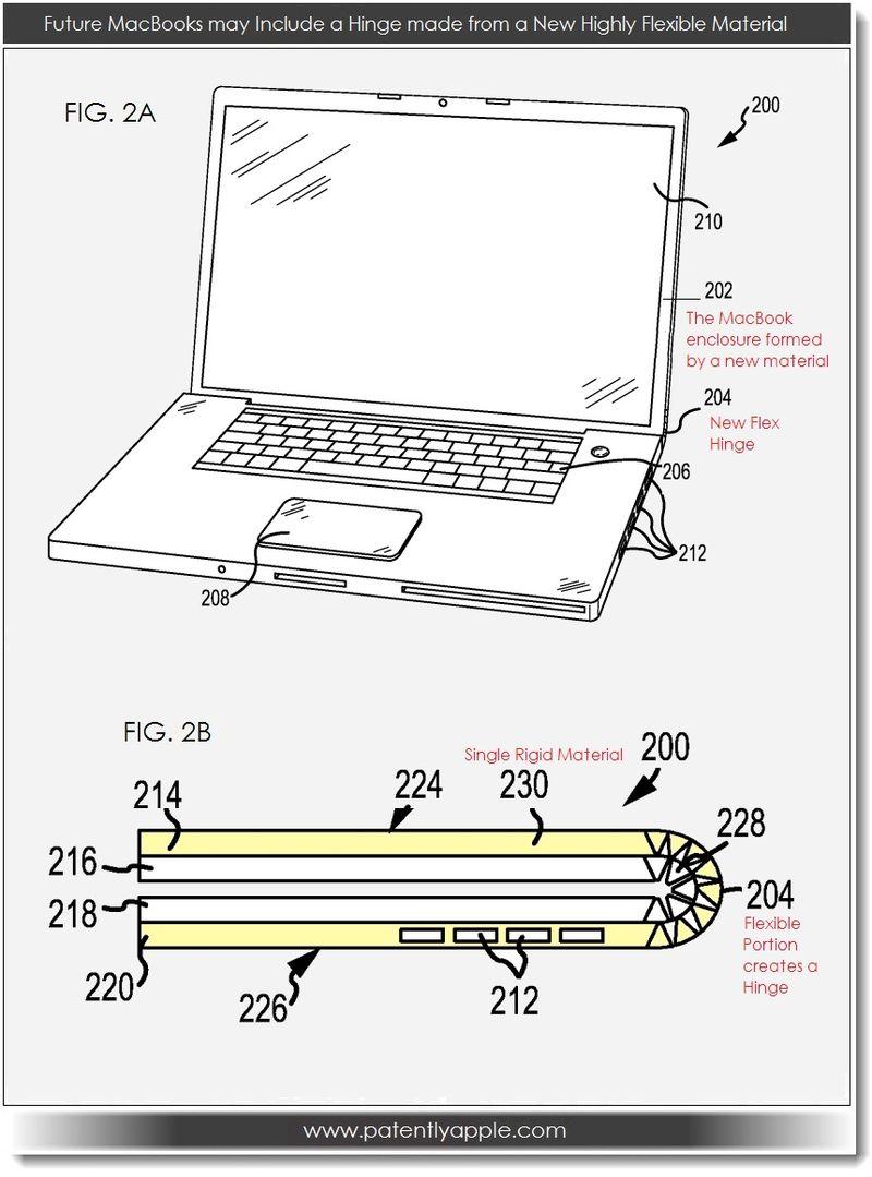 2. Apple patent for new flex material used for MacBook Enclosure & flex hinge