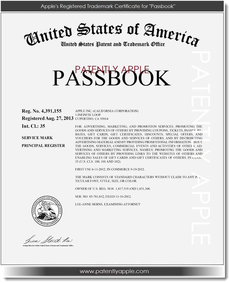 2. Apple's Passbook is now a Registered Trademark