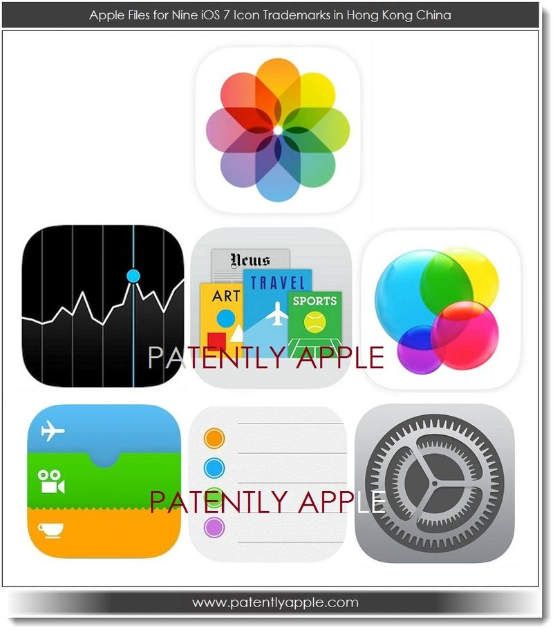 4. Apple files for Nine iOS 7 Icon trademarks in Hong Kong China